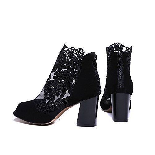 Allhqfashion Mujeres Con Cremallera De Tacón Alto Imitated Suede Solid Peep Toe Sandalias Negro