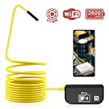 Wireless Endoscope, MICA 5.5mm Diameter 2.0MP HD Inspection Camera, IP67 Waterproof, Semi-Rigid Flexible Cable with 2600 mAh Battery for iOS & Android Smart Ph