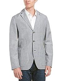 Faconnable Mens Linen-Blend Sportcoat, 48, Blue
