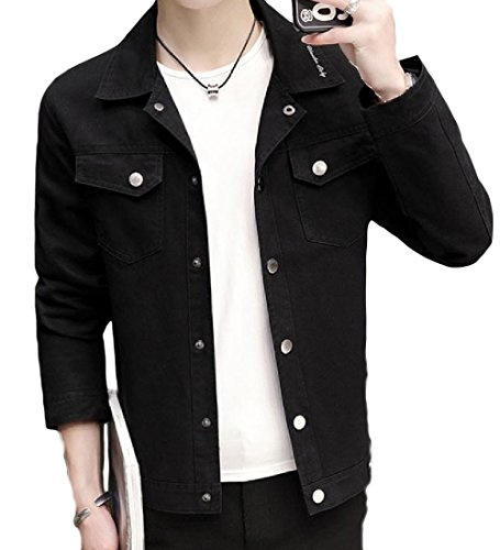 Autumn New Men Slim Baseball Uniform Jacket(Black) - 6