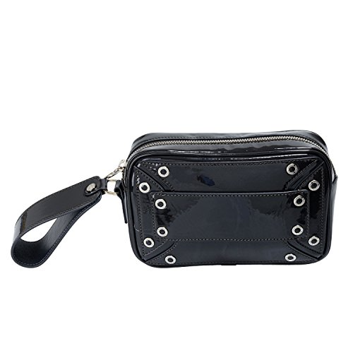 Versace-Versus-Womens-Gray-Patent-Leather-Wrist-Bag-Clutch
