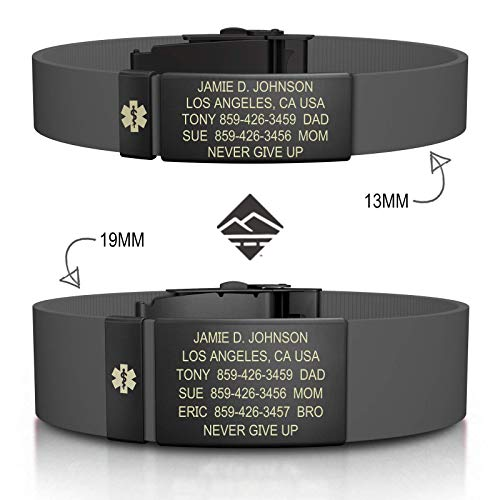 Road ID Personalized Medical ID Bracelet - Official ID Wristband with Medical Alert Badge - Silicone Clasp ()