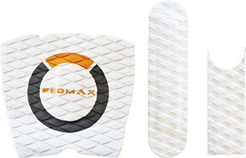 Skimboard Traction Stomp Pad Grip, White, Universal Fit for all Fiberglass Skim Board Models and Rider Weights, by Fedmax.