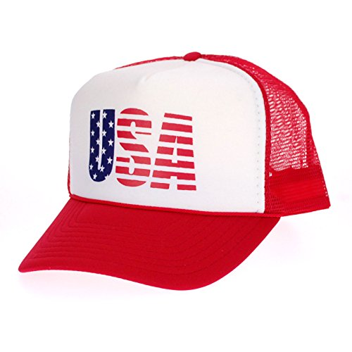 (American Flag Patriotic USA Logo Classic 5 Panel Mesh Snap Back Trucker Hat Red)