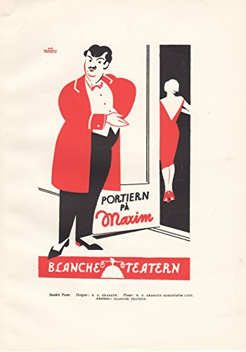 - Swedish Poster Advertisement - Blanche Teatern - 1927 Woodblock Letterpress Print