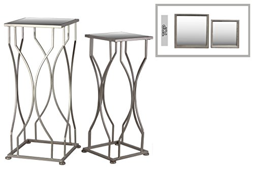 UTC25833 Metal Accent Table with Mirror Top and Square Base Set of Two Coated Finish Champagne (Collection Living Mirror Urban)