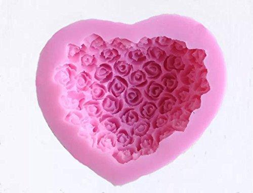 Goliton® Herz Rose Blumen förmige 3D DIY Silikon Rollfondant Dekoration Kuchen Form Back Modell Backform Gelee Seife Schokolade Bonbons Lutscher Schimmel - Pink