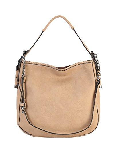 Taupe Diophy Fashion Purse Zd Womens Large Leather Handbag Hobo PU 2500 vAwZv4rq6