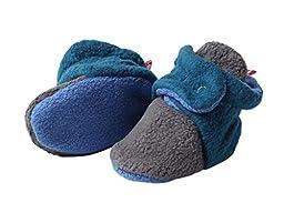 Zutano - Cozie Fleece Color Block Bootie - Gray/Pagoda/ Periwinkle - Size 6 month