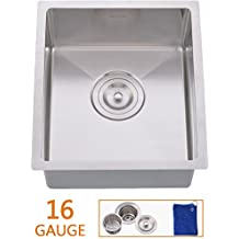 Hotis Commercial Stainless Steel Single Bowl Drop In 13 1/4 x 14 7/8 Inch Undermount Square Small Prep Kitchen sink, Bar Sink With Strainer