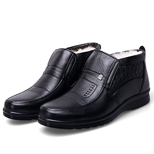 LINYI Winter New Fashion Warm Men's Leather Boots Business Plus Cashmere Men's Cotton Shoes Father Shoes Black xddQ7X