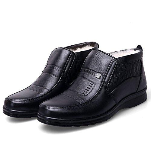 Los Botas Padre Invierno Hombres Zapatos Algodón Los LINYI Moda Hombres Cachemira De Cálida De Zapatos De Nueva De Cuero Black Más De Los APFIS