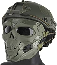 Fast Tactical Helmet,Skull Full Face Mask Shield Protective Gear Force -On-Force Gunfighting Training Helmet A