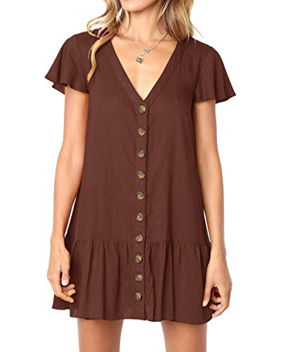 Casual Mini Dress - Chuanqi Womens Polka Dot V Neck Button Down Ruffles Casual Loose Swing Short Mini T-Shirt Dress (Medium, ZZZ-Dark Brown)