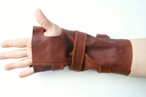 [LeadCos Bane Wrist Brace Leather Wrist guard Right Hand Gauntlet Bane Gloves] (Costumes Braces)