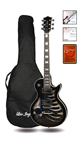 Leo Jaymz 24.75″ Single Cut Curved Top Electric Guitar – with Cool Skull Graphic Design on Top – Grover Machine Heads Installed – Super Light String in 0.9 and Extra Set as Spare Parts