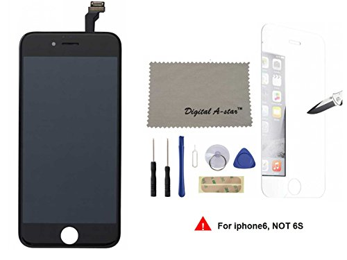 Lcd touch screen digitizer frame assembly full set lcd touch screen replacement iphone 6 4.7inch (Free tool kit included) (Black)