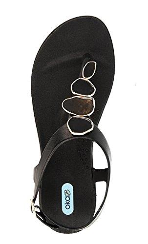 Flop with Black Color Enamel Sandal Shoes Strand Licorice Nova Flip OkaB by Rxn5wq4aU