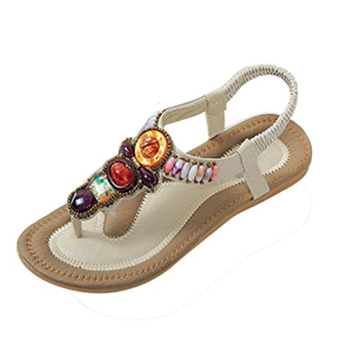 Transer Ladies Leisure Flat Sandals- Women Bohemia Peep-Toe Sandals Comfy Shoes Casual Beige