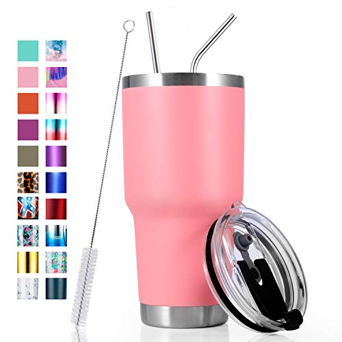 30oz Stainless Steel Insulated Pink Tumbler Travel Mug with Straw