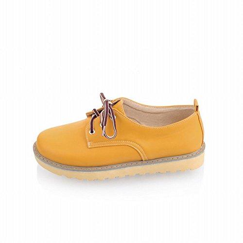 Latasa Mujeres Lace-up Low Platform Oxfords Zapatos, Zapatos Planos Amarillo