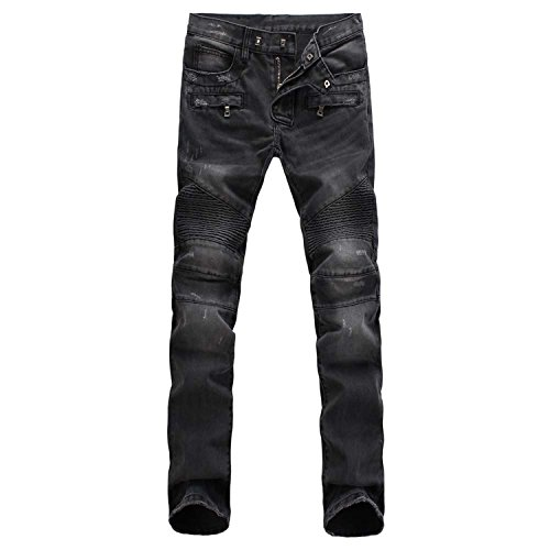 Aiyino Men's Ripped Slim Straight Fit Biker Jeans With Zipper,US 40,Grey (Jeans Fit Slim Straight)