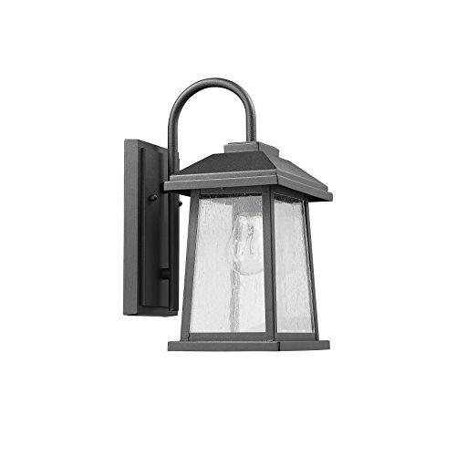 Textured Black Finish Outdoor Wall Sconce Rectangular Glass Lantern Lamp Light (Rectangular Lantern Chandelier)