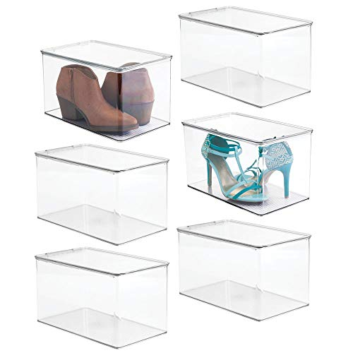 mDesign Stackable Closet Plastic Storage Bin Box with Lid - Container for Organizing Mens and Womens Shoes, Booties, Pumps, Sandals, Wedges, Flats, Heels and Accessories - 7