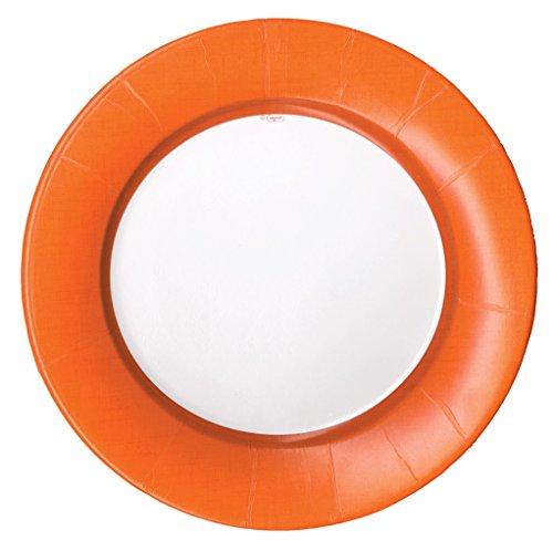 Entertaining with Caspari Entertaining Dinner Plates, Linen, Deep Orange, Pack of 8