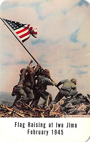 Military Post Card Old Vintage Antique Postcard Flag Raising at Iwo Jima, February 1945 Unused