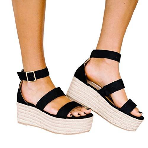 - Liyuandian Womens Open Toe Ankle Strap Sandals Espadrilles Platform Wedge Sandal Ankle Strap Mid Heel Shoes (8 M US, 2-Black)