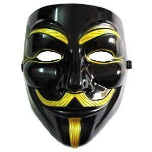 Imonic V for Vendetta Mask / Anonymous / Guy Fawkes Mask Black & Gold