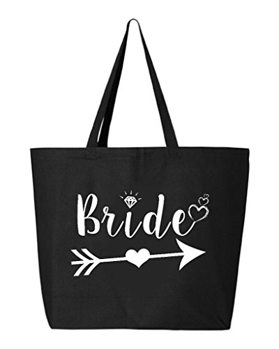 Shop4Ever Bride Heart Arrow White Heavy Canvas Tote Wedding