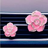 Lannmart 2PCS High-Grade Diamond Crystal Rose car Perfume Vent Clip Lady car Styling air Outlet Accessories Car Air Freshener Styling