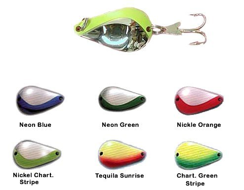 Acme KO Wobbler Lure, Nickel Chartreuse Stripe, 3/4-Ounce