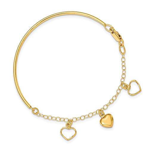 14k Yellow Gold Dangle Heart Bracelet Chain Bangle 7 Inch Fine Jewelry Gifts For Women For Her ()
