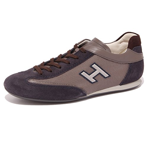 4466Q sneaker uomo HOGAN OLYMPIA SLASH H FLOCK blu/marrone shoe men Blu/Marrone