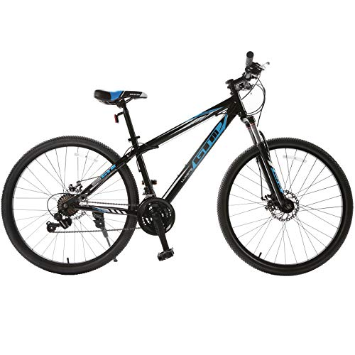 Murtisol 27.5'' Adult Mountain Bike Hybrid Bicycle with 21 Speed,Suspension/Dual Disc Brake in 4 Colors,Blue/Grey/Yellow/White Black