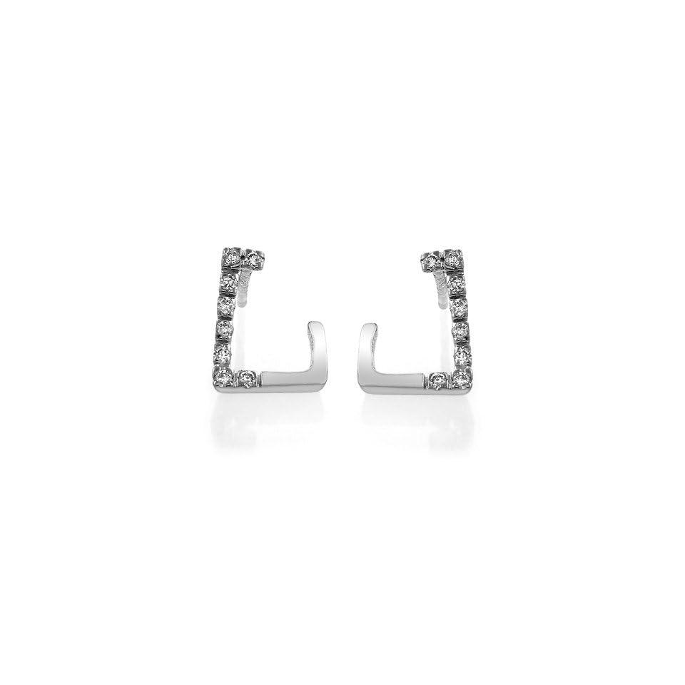 14K White Gold Accented Diamond Earrings