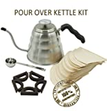 FOX PRIME Stainless Steel Pour Over Gooseneck Perfect Drip Coffee...
