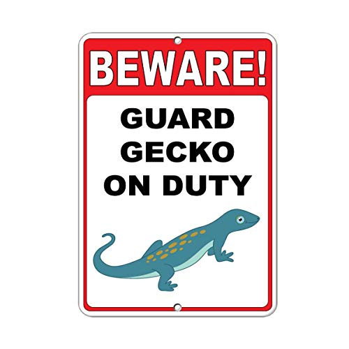 Iliogine Vintage Wall Decoration Sign Beware! Guard Gecko On Duty Funny Quote Metal Post Plaue for Women Men