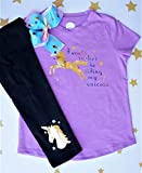 Girls Shirt Pants Set with Bow 3 Piece Unicorn Outfit