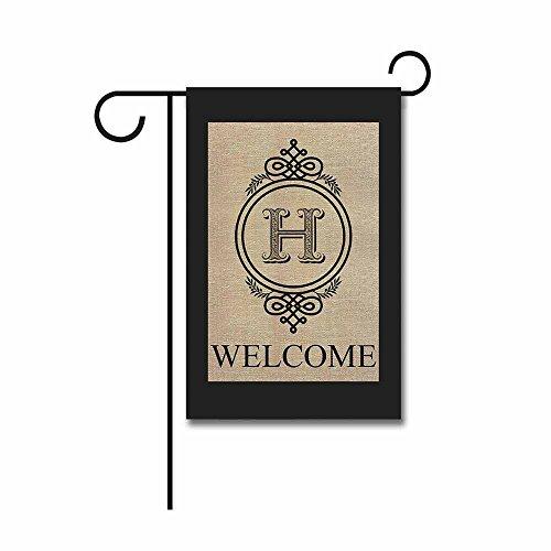 KafePross Alarm Clock Shape Welcome Initial Garden Flags Monogram H Banner 12.5