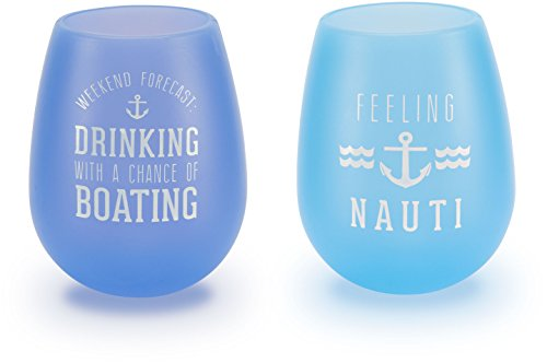 [Pavilion Gift Company We People Lake Blue Silicone Wine Glass Set, Multicolor] (Blue Drinking Hat)