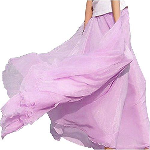 retro longue Femmes Bleu mousseline en diamant pour SODIAL Violet de soie Jupe qTYX74