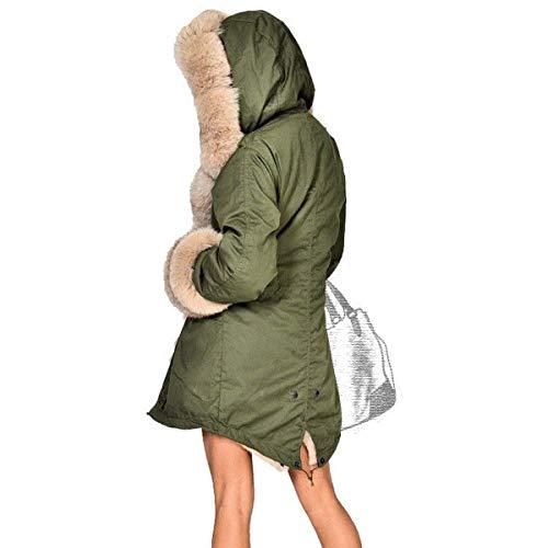 Plumas Outdoor con Piel Invierno Fit Caliente Parka Acolchada Capucha De Estilo Invierno Largos Espesar Amry Capucha Slim Grün Pluma Chaqueta Especial Mujer Elegante con xqwUOOa