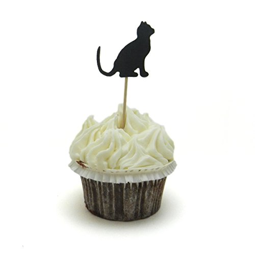 Each Lollipop (Cat Cupcake Toppers - Set of 12 - Black Cat Cupcake Toppers - Cupcake Topper - Handmade Cupcake Topper - Cat Cupcake Topper - Handmade - Cat)
