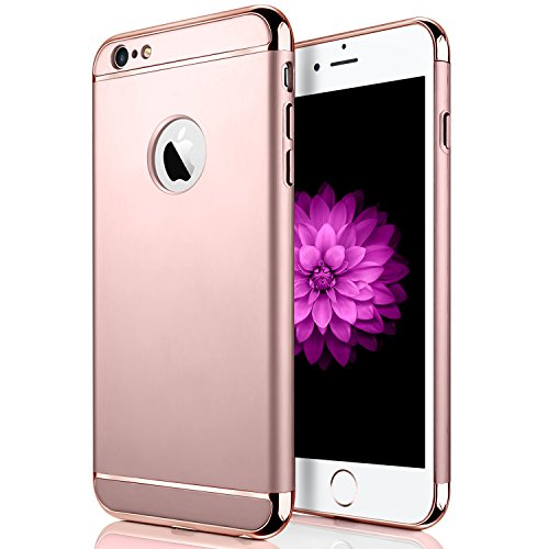 iPhone 6/6s Plus Case, Seekfull Ultra Thin 3 In 1and Slim Hard Shockproof Case Coated Non Slip Matte Surface with with Tempered Glass Screen Protector for Apple iPhone 6/6S Plus (5.5'') (Rose Gold)