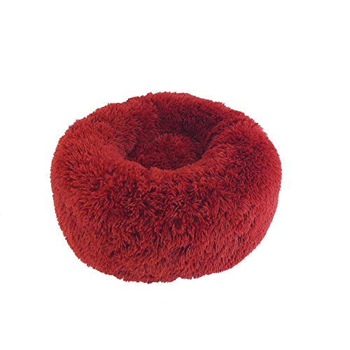 JIAOHJ Dog Bed pet Bed,Donut Cuddler,Small and Medium-Sized Dog Artificial Fur Dog Bed,Self Warming Indoor Round Pillow,A,S ()