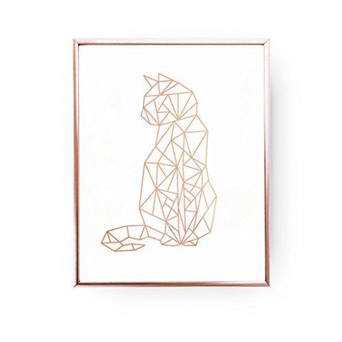 Cat Print, Geometric Cat, Cat Wall Art, Rose Gold Foil, Cat Geo Print, Cat